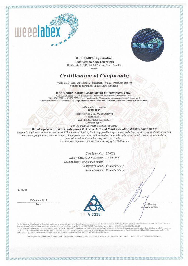 weeelabex certificaat verwerking ict en telecom